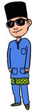 Boy or man wearing Baju Melayu. Sketch cartoon illustration in colour of a man or boy wearing Baju Melayu for Hari Raya Aidilfitri Stock Image