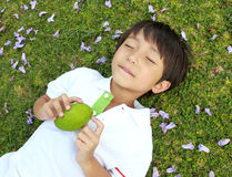 Boy with manggo. Cheerful boy laying on the green grass holding a manggo fruit Royalty Free Stock Images