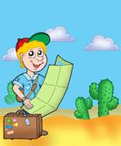 Boy with map outdoor. Color illustration Stock Photo