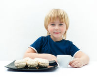 Boy with marshmallow Royalty Free Stock Image