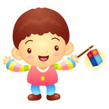 The boy Mascot is holding a lantern Building. Korea Traditional Stock Images