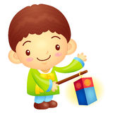 The boy Mascot is holding a lantern Building. Korea Traditional Royalty Free Stock Images