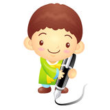 The boy Mascot with a large pen is writing.. Korea Traditional C Stock Images