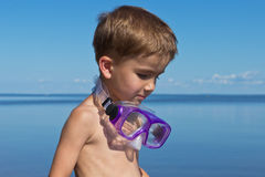 Boy with a mask for diving Royalty Free Stock Images