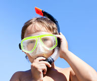 Boy in mask with a tube for diving Royalty Free Stock Images