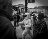 A boy masquerading as an astronaut in the streets of St. Petersburg, Russia in May 2018 stock image