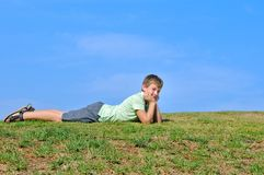 The boy in the meadow Stock Photo