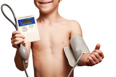 Boy is measuring the pressure with tonometer Royalty Free Stock Photography