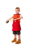 Boy with measuring tape Stock Photography