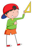 Boy measuring with triangle ruler Stock Images