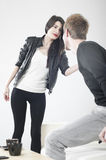 Boy meets girl. And is ready to share memories Royalty Free Stock Photography
