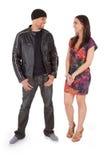 Boy Meets Girl. Young inter-racial couple flirting Royalty Free Stock Photos