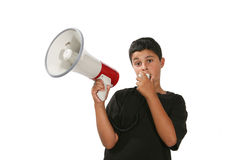 Boy with Megaphone Royalty Free Stock Photos
