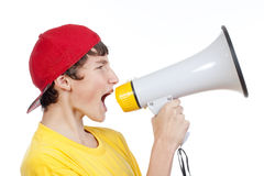Boy with megaphone Stock Photos