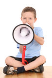 Boy and megaphone Royalty Free Stock Images
