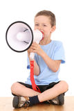 Boy and megaphone Royalty Free Stock Photos