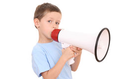 Boy and megaphone Royalty Free Stock Photo