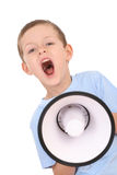 Boy and megaphone Stock Image