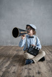 Boy with megaphone Stock Image