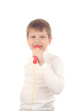 Boy with mic Stock Image