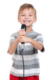 Boy with microphone Royalty Free Stock Images
