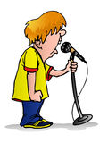 Boy on the microphone Royalty Free Stock Image