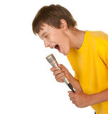 Boy with microphone on white Royalty Free Stock Images