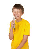 Boy with microphone on white Stock Photo