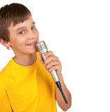 Boy with microphone on white Stock Image