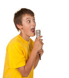 Boy with microphone on white Stock Photos
