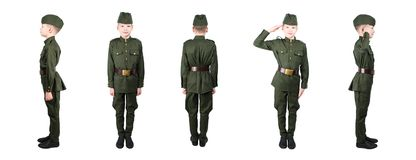 Boy in military uniform posing several times with different sides, isolate on white Stock Images
