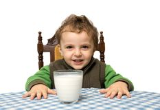 boy and milk Royalty Free Stock Photos