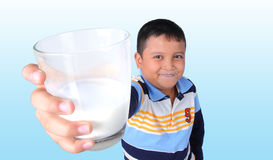 A boy with milk mustache Stock Photos