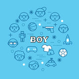 Boy minimal outline icons Royalty Free Stock Images