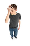 Boy mistake or headache Stock Images