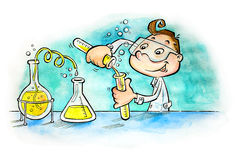 Boy mixing substances in laboratory Royalty Free Stock Image