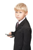 Boy with mobile phone Royalty Free Stock Photos