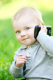 A boy with mobile phone Royalty Free Stock Photo
