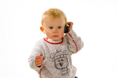 Boy with mobile phone Stock Images