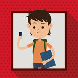 Boy with mobile phone student frame dot shadow background Royalty Free Stock Images