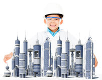 Boy with a modern city Royalty Free Stock Photos