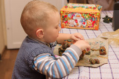 Boy and molding Stock Photography