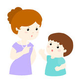 Boy and mom arguing  illustration Royalty Free Stock Photos