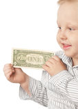 Boy with money Stock Images