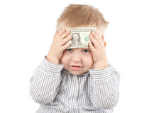 Boy with money Stock Photo