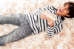 Boy and Money Stock Photos