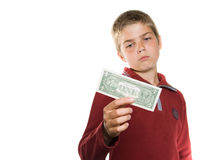 Boy with money Royalty Free Stock Photos