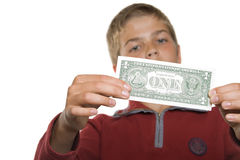 Boy with money Royalty Free Stock Photo