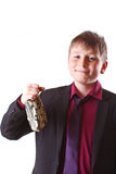 Boy with money bag Royalty Free Stock Photo