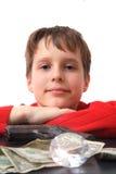 Boy money and diamond Royalty Free Stock Photos
